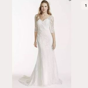 Soft White Wedding Dress Allover Lace 3/4 Sleeve
